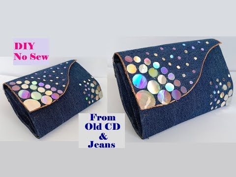 How To Make Clutch Purse With CD & Old Jeans / No Sew Clutch Purse /Best out of Waste