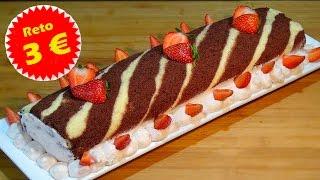 Receta Brazo de gitano en blanco y negro relleno de crema - Reto tarta por menos de 3 Euros