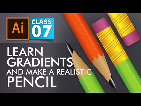 Adobe Illustrator Training - Class 7- Learn Gradients and create realistic Pencil