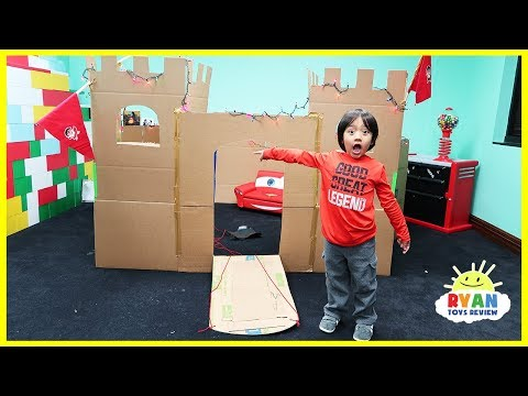 Giant Castle Box Fort Challenge from Cardboard with Ryan ToysReview