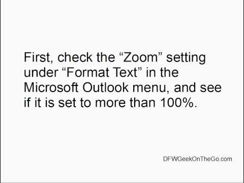 Resetting Your Zoom Function In Microsoft Outlook