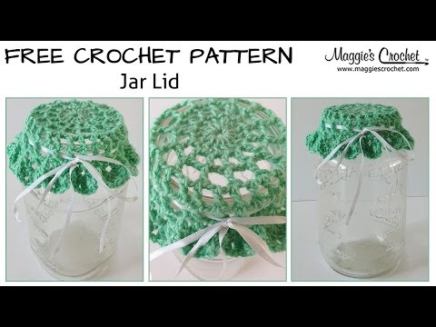 Mason Jar Lid Cover Free Crochet Pattern - Right Handed