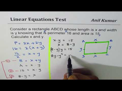 Find Length and width of rectangle with Area of 15 and Perimeter 16