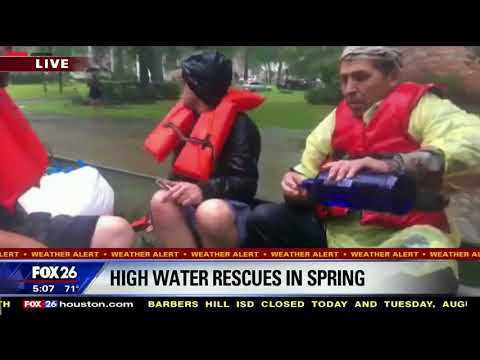 Boaters helping rescue flood victims pound shots of vodka; news anchor think it's water