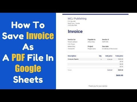 How To Save Your Invoice As A PDF File In Google Sheets