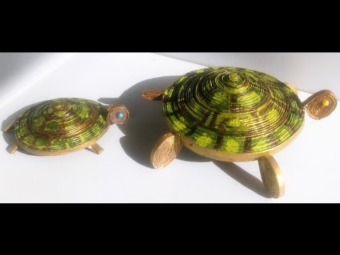 How to make a Tortoise with Newspaper (can  be used as a Jewel Box too)