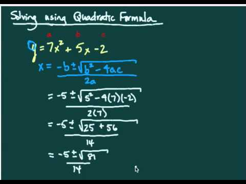Quadratic Formula - solving quadratic equations