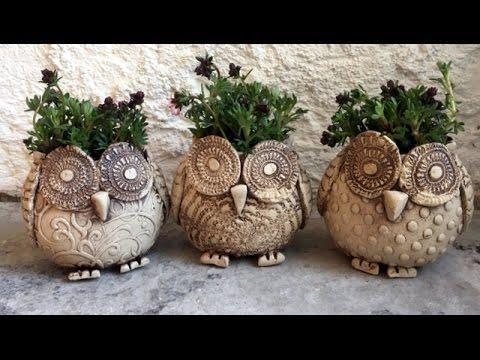Keramik Eule Pflanztopf/Ceramic Owl Plant Pot