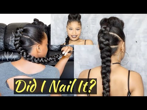 I Tried Following THECHICNATURAL Hair Tutorial | Dope 3-Pony Braided Style