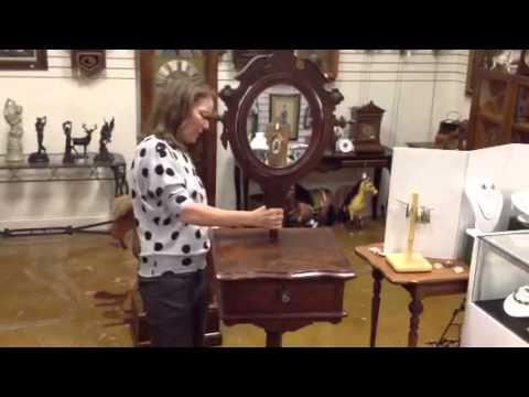 Antique furniture, The best Victorian shaving mirror stand!