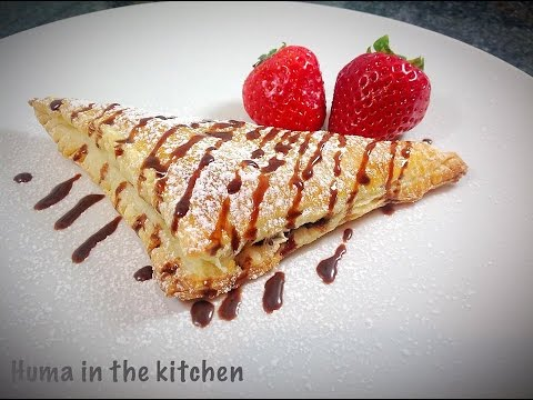 Nutella Puff Pastry Turnover Recipe - Nutella Triangles - Pasrty Food by (HUMA IN THE KITCHEN)