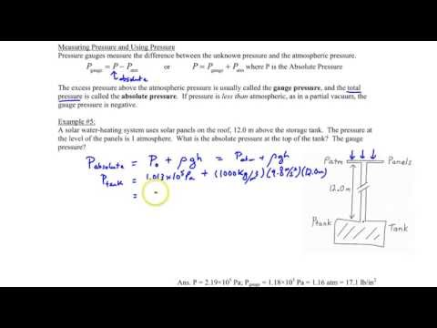 Chapter 11, Absolute vs. Gauge Pressure & Example #5
