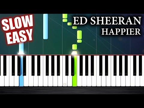 Ed Sheeran - Happier - SLOW EASY Piano Tutorial by PlutaX