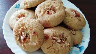 कढ़ाई में बनाये  गेहूं के आटे से नानखताई बिस्कुट जो बेकरी से भी टेस्टी है  ।
