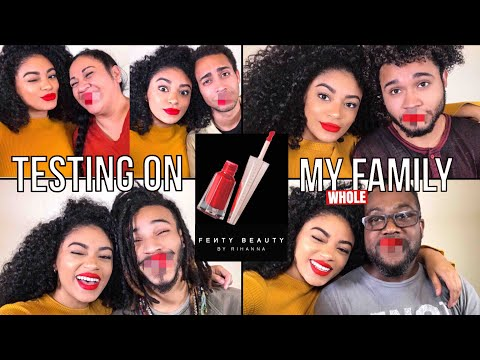 TRYING THE NEW Fenty Beauty Stunna Lip Paint ON MY WHOLE FAMILY! | jasmeannnn