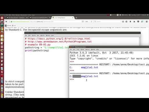 Python using backslash escape sequence