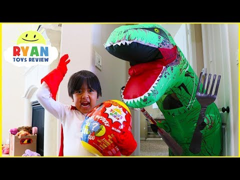 Ryan opens Giant Surprise Egg Ryan's World | Pretend Play Hide and Seek with Giant Dinosaur