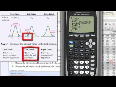 Hypothesis Testing Population Mean - TI83 TI84 Calculator