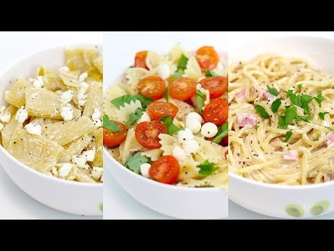 3 Easy Pasta Recipes | Caprese Salad Pasta, Spaghetti Carbonara, Feta Cheese Rigatoni | RECIPE