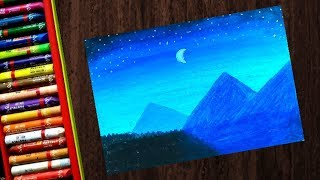 11 01 How To Draw A Night Sky Mountain Scenery With Oil Pastel Step