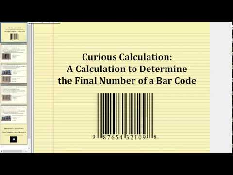 Bar Code Calculation to Determine The Check Digit
