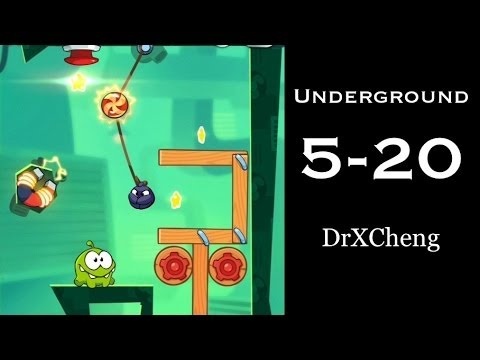 Cut the Rope 2 Walkthrough - Underground 5-20 - 3 Stars + Medal [HD]