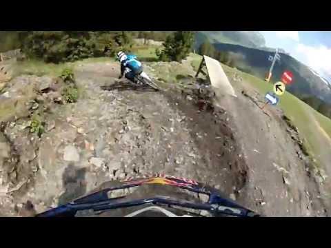 Trying to follow Oscar Saiz in his track at the BikePark Soldeu (Andorra)
