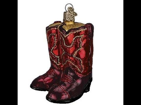 Trendy Ornaments Red Cowboy Boots Christmas Ornament