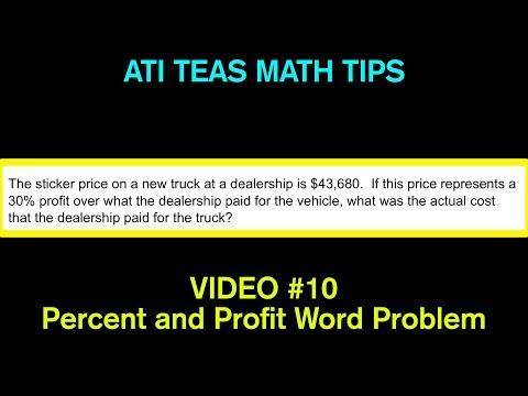TEAS Math Tips - Video #10: Percent and Profit/Money Word Problem