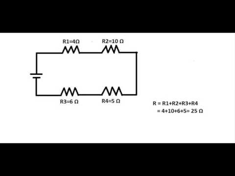 How to calculate the total resistance in a series circuit.