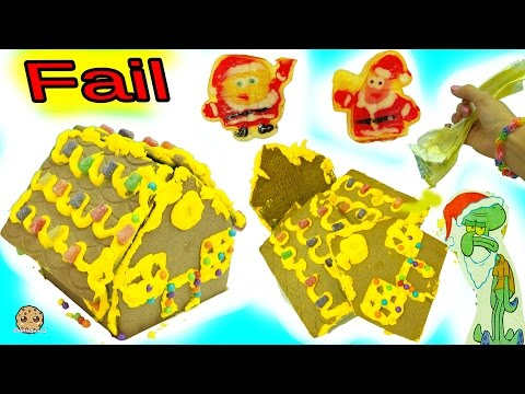 Fail Video - Making Spongebob Squarepants Holiday Food Gingerbread House Cookie Kit