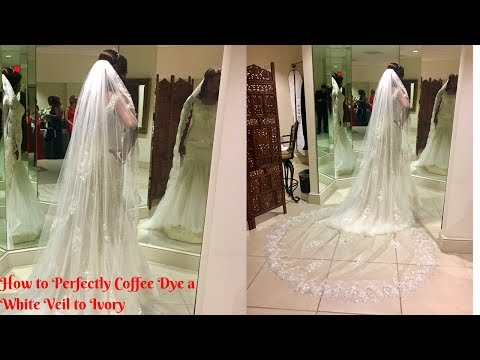Dying Wedding Veil from White to Ivory with Coffee Instead of Tea
