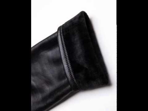 Add plush padded PU imitation leather pants slim skinny jeans.avi
