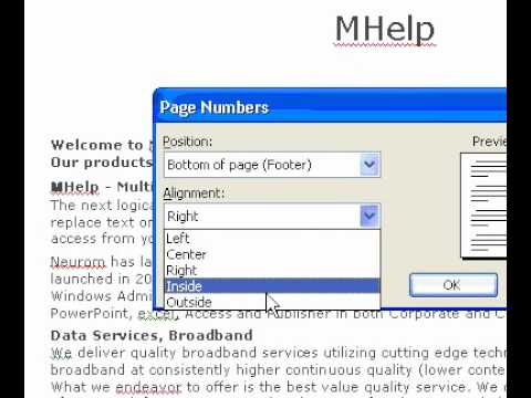 Microsoft Office Word 2003 Add basic page numbers to headers or footers