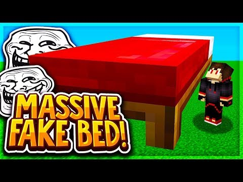 The MASSIVE Fake Bed Defense Troll! (Minecraft BEDWARS)