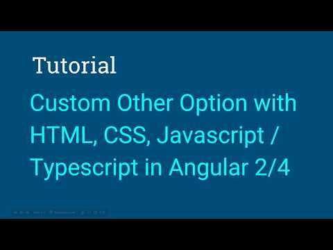 How to set Other as a Select Option and Textbox using Bootstrap on Angular 2/4