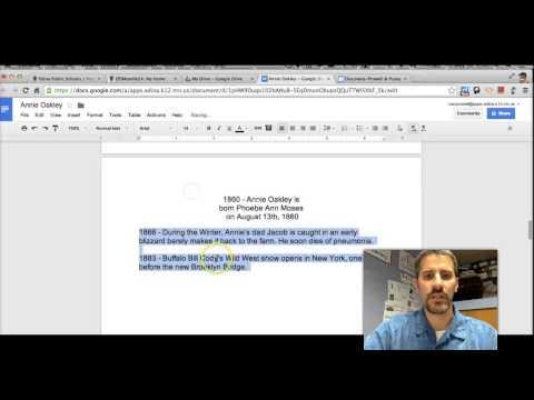Biography Timelines in Google Docs