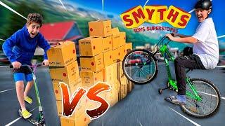 SMYTHS TOY CHALLENGES SCOOTER 🛴 vs MOUNTAIN BIKE 🚲 [Fahrrad Stunts] | CRASHBROS2