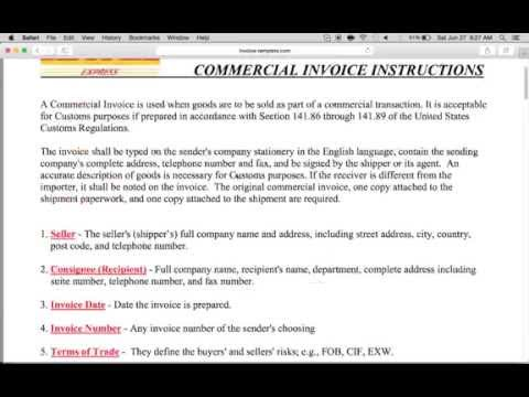 How to Fill-in a DHL Commercial Invoice | PDF
