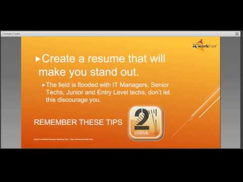 Information Technology Resume Tips 2 Minute Overview - August 6, 2014