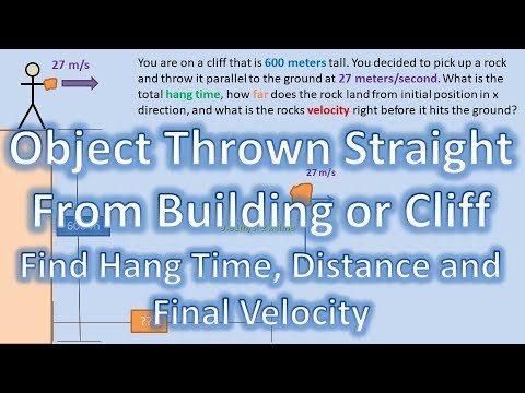 Throwing an Object Straight Off a Cliff Or Building (Find Hang Time, Distance, and Velocity Final)