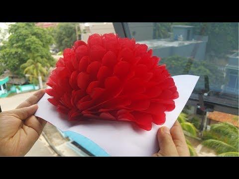 DIY, Paper Crafts.  How To Make 3D Flower Pop Up Card | کاردستی، ساخت گل کاغذی پاپ اپ