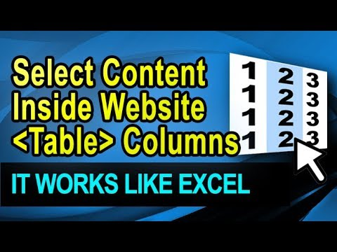 Select content in website table columns with extension Cellect