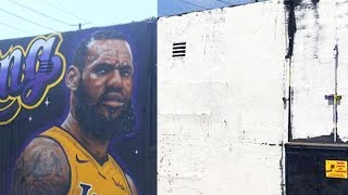LeBron James Removed From Lakers Mural in Los Angeles After Fans Destroy It!