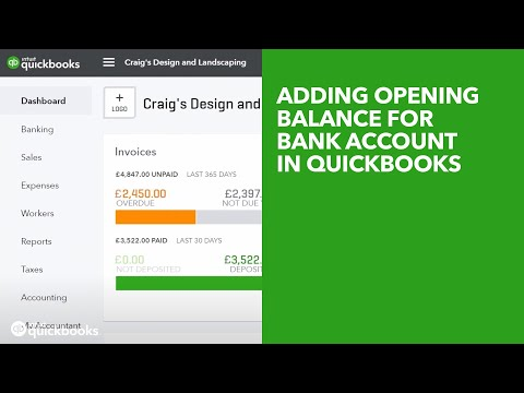 Adding Opening Balance for Bank Account in QuickBooks