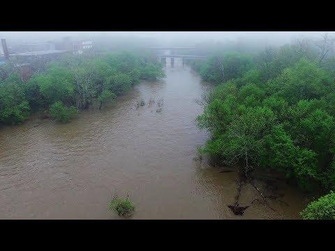 Foggy Morning Flight Over Rain Swollen Haw River - Alamance County, NC