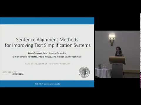 Sentence Alignment Methods for Improving Text Simplification Systems | ACL 2017