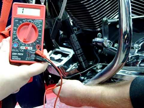3-phase Alternator Stator Charging System testing with a DVOM meter on a motorcycle Road King