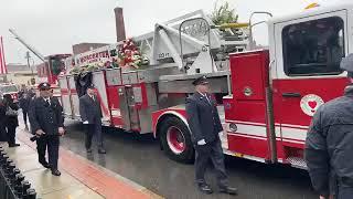 Firefighters line street for funeral procession of Worcester Firefighter Lt. Jason Menard
