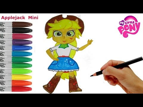 My Little Pony How to Draw Applejack Equestria Girls Mini. Coloring Book MLP